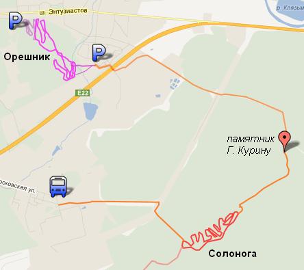 карта с маршрутом покатушки