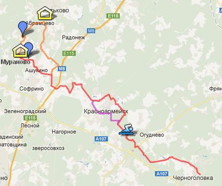 карта со схемой маршрута