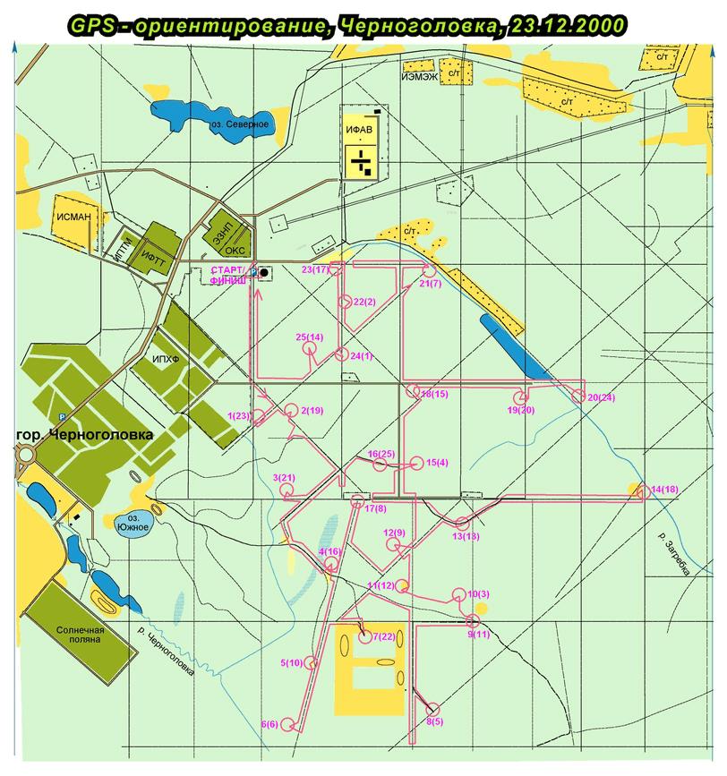 GPS-ориентирование в ЧГ в 2000 г.: карта пути победителей